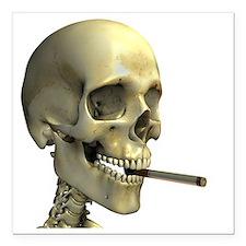 Smoking skeleton - Square Car Magnet 3