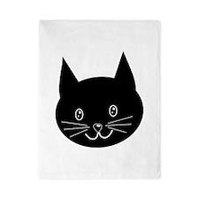 Black Cat Face. Twin Duvet