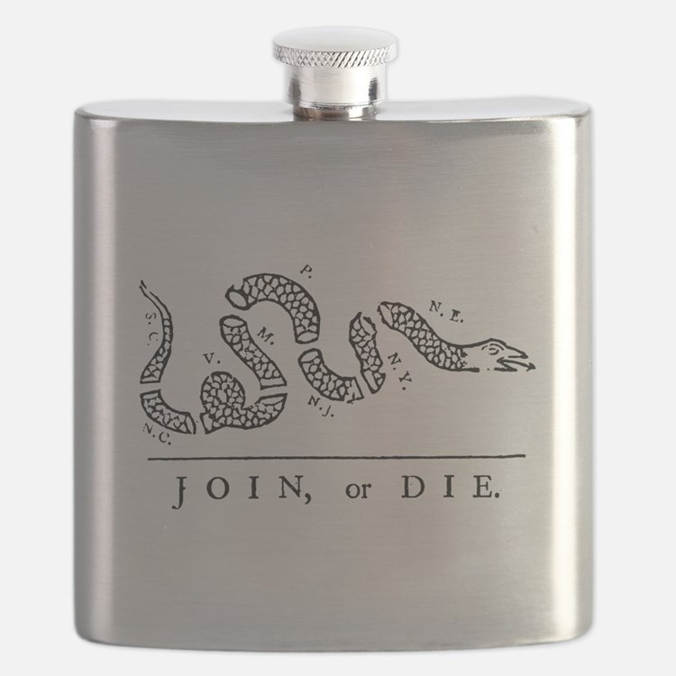 Join or Die Tribute to Benjamin Franklin Flask