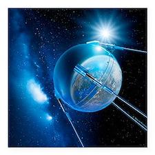 Sputnik 1 satellite - Square Car Magnet 3