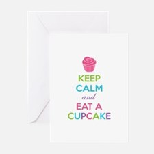 Keep calm and eat a cupcake Greeting Cards (Pk of
