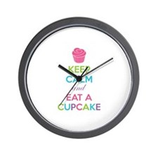 Keep calm and eat a cupcake Wall Clock