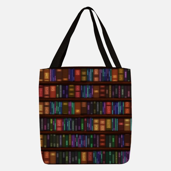 Old Bookshelves Polyester Tote Bag