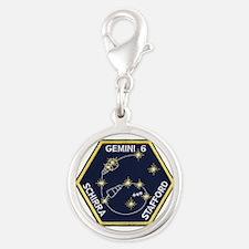 Gemini 6-Go Blue! Silver Round Charm