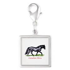 Canadian Horse Silver Square Charm