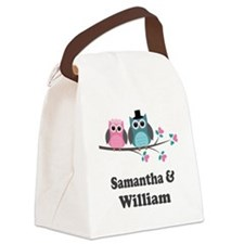 Personalized Bride Groom Owls Canvas Lunch Bag