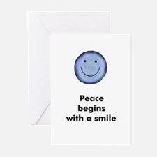 Peace begins with a smile Greeting Cards (Package