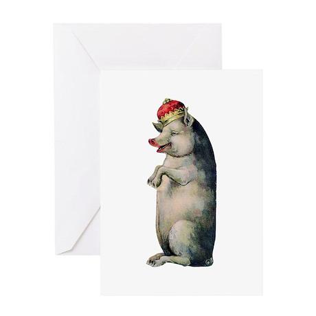 Pig King Greeting Card