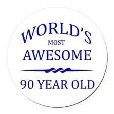 World's Most Awesome 90 Year Old Round Car Magnet