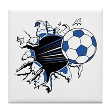 Soccerball Ripping Through Tile Coaster
