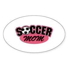 Pink Soccer Mom Design Oval Decal