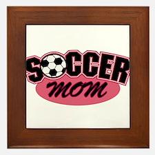 Pink Soccer Mom Design Framed Tile