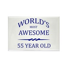 World's Most Awesome 55 Year Old Rectangle Magnet