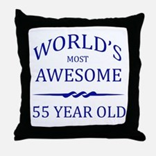 World's Most Awesome 55 Year Old Throw Pillow