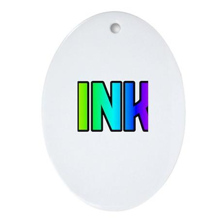 KINKY-RAINBOW TEXT Oval Ornament