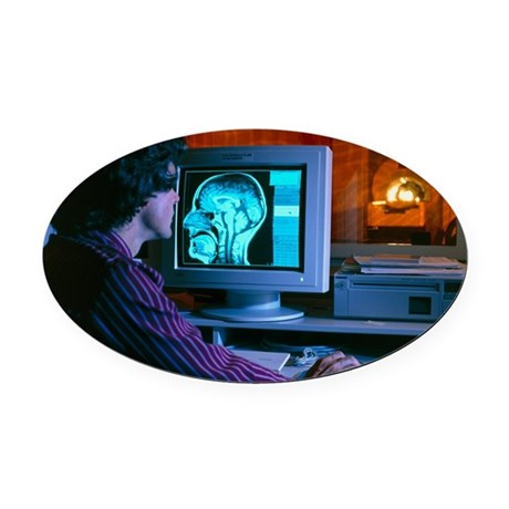Control room of a CT scanner - Oval Car Magnet