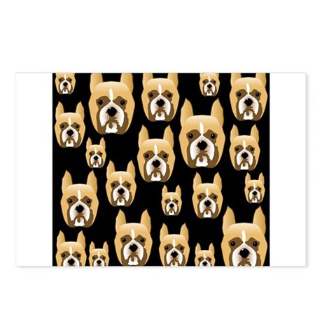 Boxer Faces on Black. Postcards (Package of 8)