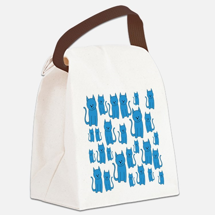 Blue Cats Pattern. Canvas Lunch Bag