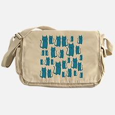 Blue Cats Pattern. Messenger Bag