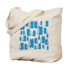 Blue Cats Pattern. Tote Bag