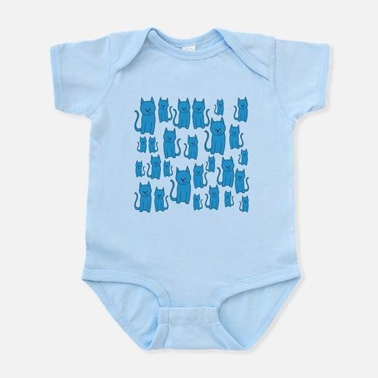 Blue Cats Pattern. Body Suit