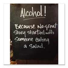 """The truth about Alcohol Square Car Magnet 3"""" x 3"""""""
