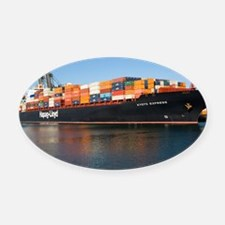 Container ship - Oval Car Magnet
