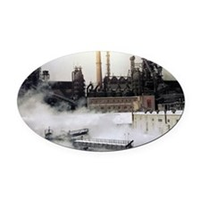 Iron and steel works - Oval Car Magnet