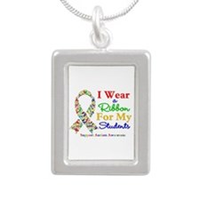 Students Autism Ribbon Silver Portrait Necklace