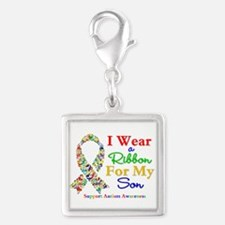 I Wear Autism Ribbon For My Son Silver Square Char