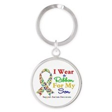 I Wear Autism Ribbon For My Son Round Keychain