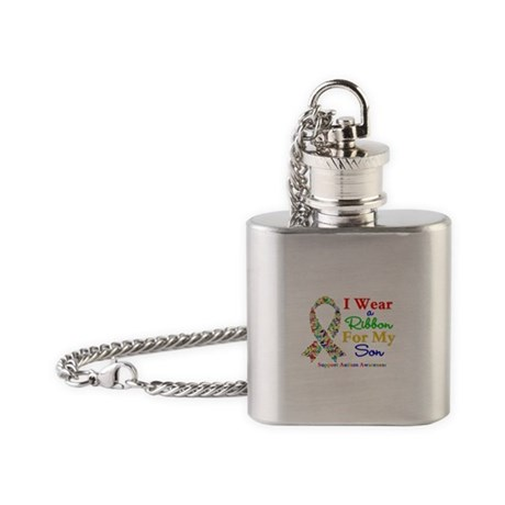 I Wear Autism Ribbon For My Son Flask Necklace