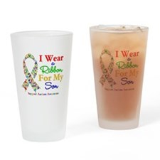 I Wear Autism Ribbon For My Son Drinking Glass