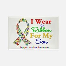I Wear Autism Ribbon For My Son Rectangle Magnet
