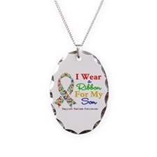 I Wear Autism Ribbon For My Son Necklace