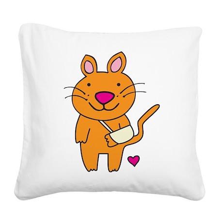 Broken Kitty Square Canvas Pillow