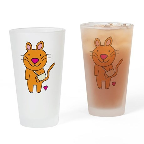 Broken Kitty Drinking Glass