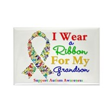 Grandson Autism Ribbon Rectangle Magnet