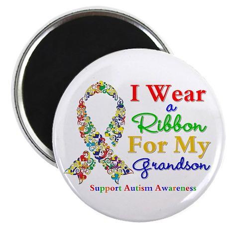 "Grandson Autism Ribbon 2.25"" Magnet (10 pack)"