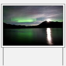 Aurora borealis and Moon - Yard Sign