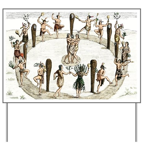 Native American tribal dance, artwork - Yard Sign