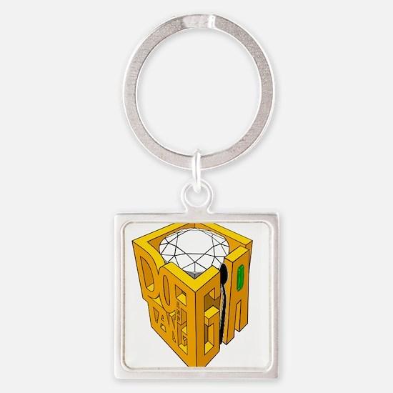 GIA white diamond green stone Square Keychain