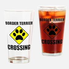 Border Terrier Crossing Drinking Glass