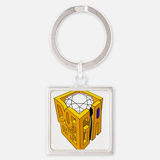 GIA transparent diamond blue stone Square Keychain