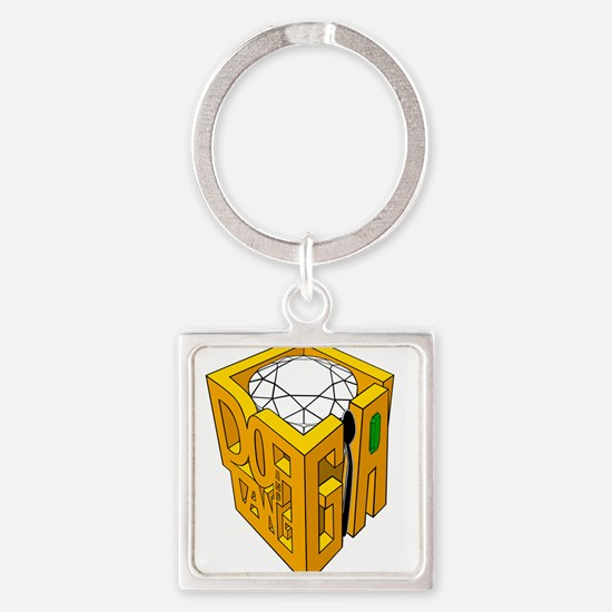 GIA transparent diamond green stone Square Keychai