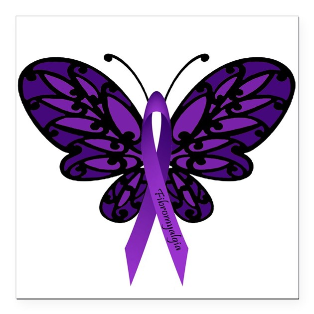 Fibromyalgia Awareness Square Car Magnet 3 X By