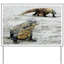Komodo dragons on a beach - Yard Sign