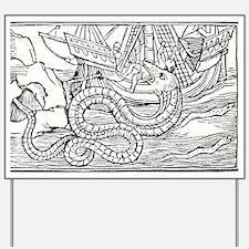 Sea serpent, 16th century artwork - Yard Sign