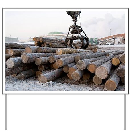 Sorting wood stocks at a sawmill - Yard Sign