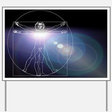 Vitruvian man with flare in chest - Yard Sign